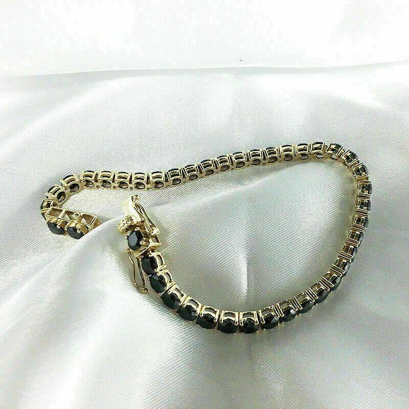 7.00 Carat Round Cut Black Diamond Tennis Bracelet 14k Yellow Gold Over 7.25″ #3…