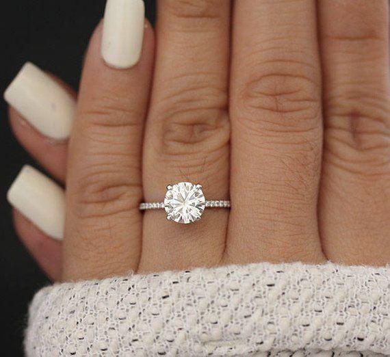 8mm Round Moissanite Forever Classic Engagment Ring, White Gold Moissanite Wedding Ring, Diamond Half Eternity Band, Charles & Colvard Ring