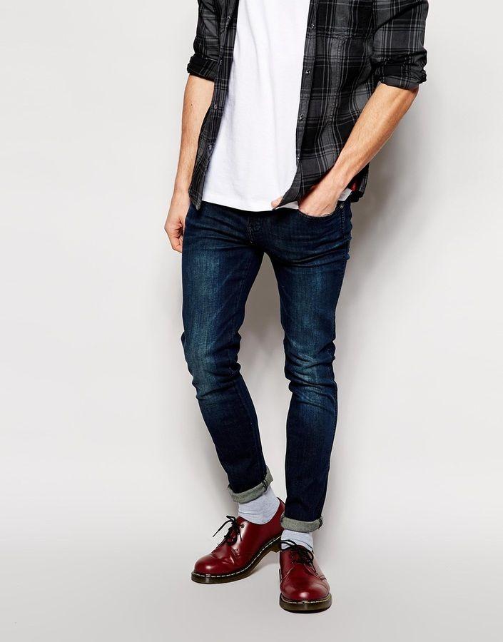 $90, Navy Skinny Jeans: Dr. Denim Dr Denim Jeans Snap Skinny In Dark Wash. Sold …