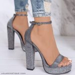 @STYLESTONED Silver Glitter Chunky Platform Heel / Ankle Strap / Women's Sho ... -  #Ankl...