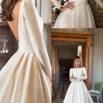 A-Line Bateau Long Sleeves Backless Court Train Wedding Dress