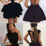 A-Line Scoop Backless Short Black Satin Homecoming Dress