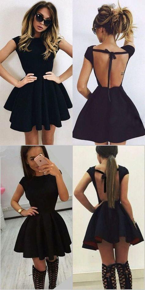 A-Line Scoop Backless Short Black Satin Homecoming Dress