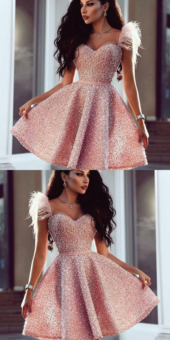 A-Line Sweetheart Pink Beaded Short Prom Dress with Feathers
