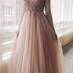A-line V -neck Sequined Tulle Modest Elegant Pretty Prom Dresses,Evening Dress, PD1036