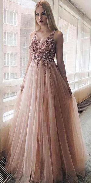A-line V -neck Sequined Tulle Modest Elegant Pretty Prom Dresses,Evening Dress, PD1036