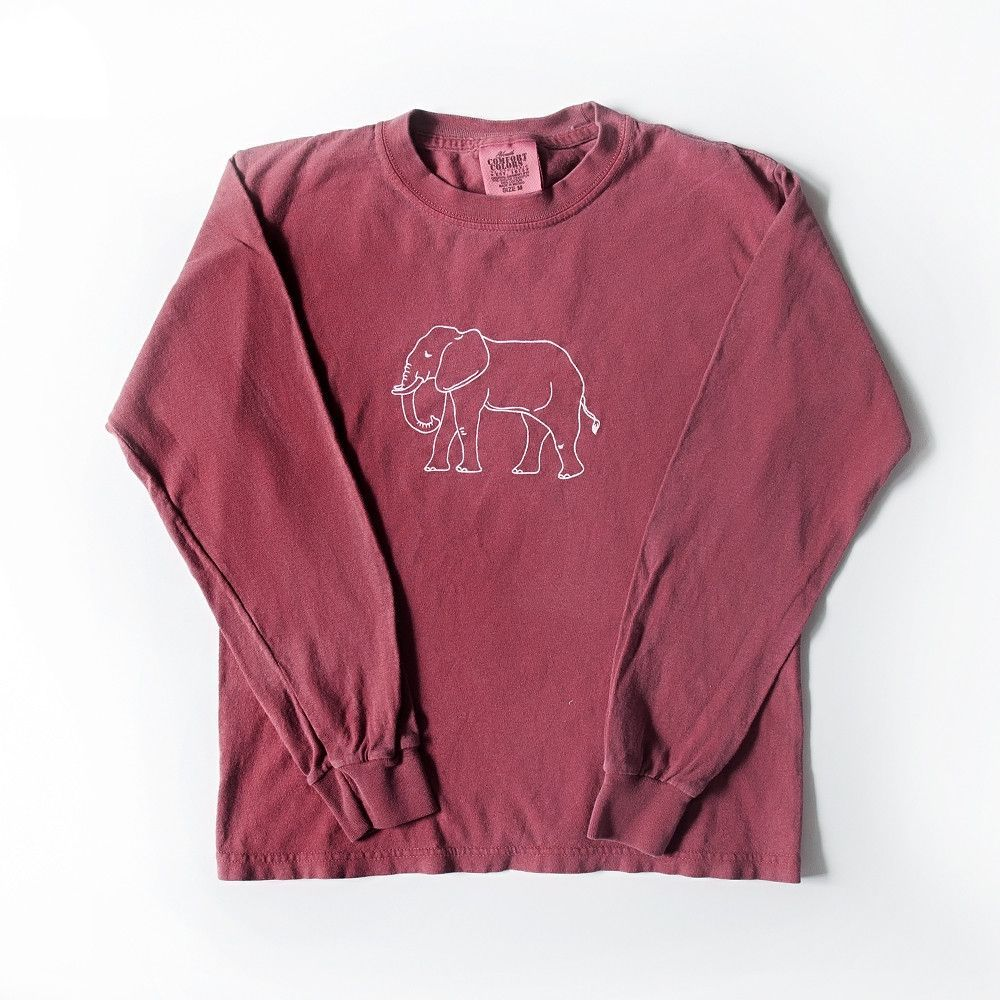 A simple elephant is hand screened in white on a super soft, high quality, heath…