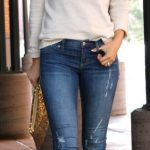 A sweet pullover looks awesome styled with light blue skinny jeans and metallic ...