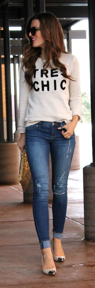 A sweet pullover looks awesome styled with light blue skinny jeans and metallic …