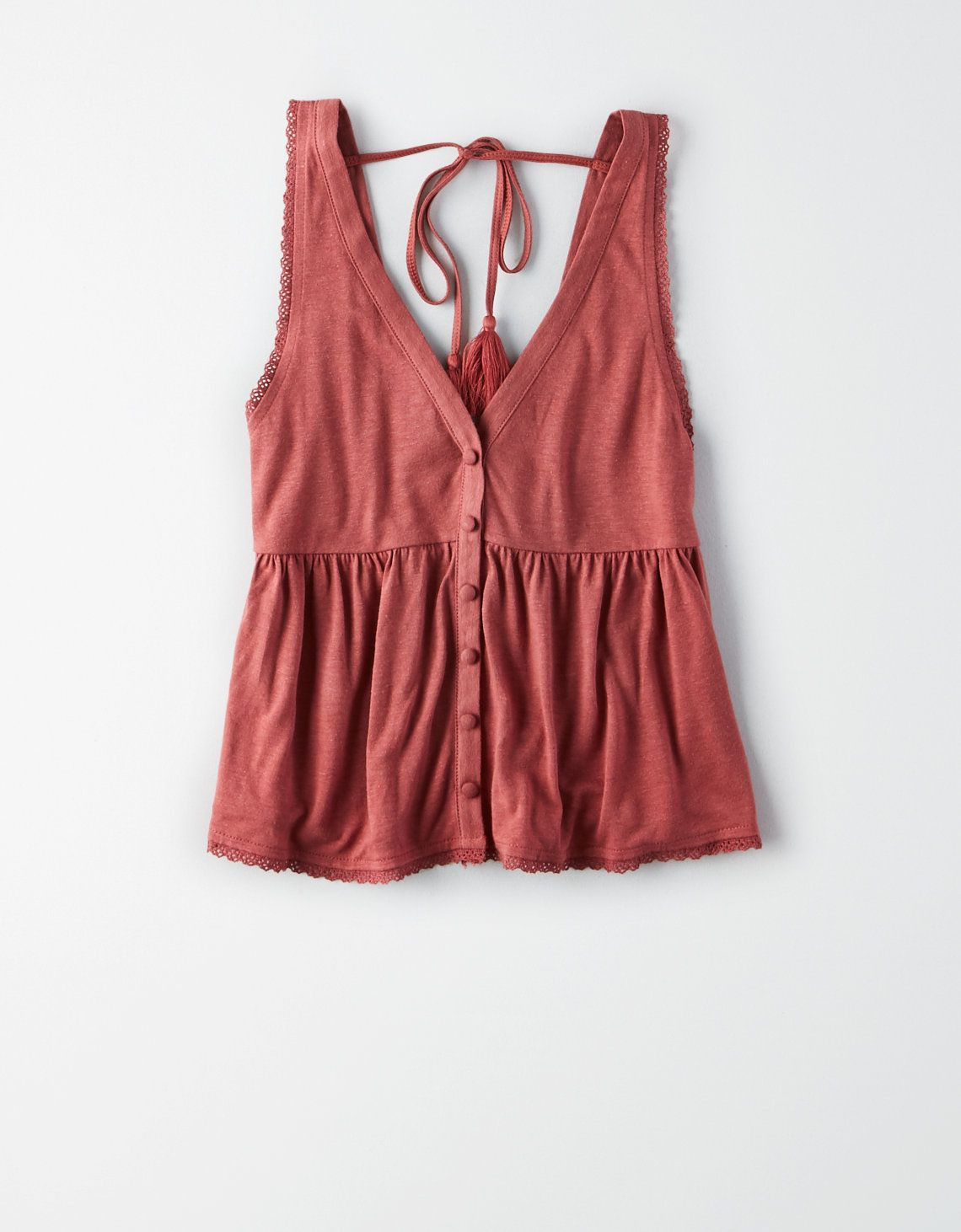 AE Peplum V-Neck Tank Top, Rust | American Eagle Outfitters