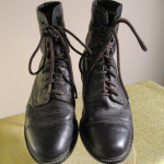 ARIAT STEEL TOE BOOTS ~ 8.5 ~ LOGO ~ LACE UP Black leather steel toe style Logo ...