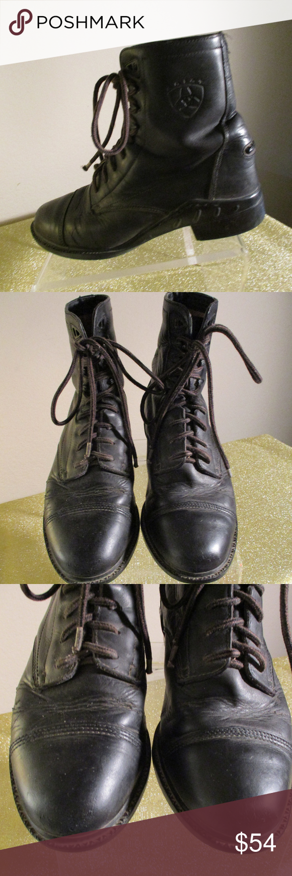 ARIAT STEEL TOE BOOTS ~ 8.5 ~ LOGO ~ LACE UP Black leather steel toe style Logo …