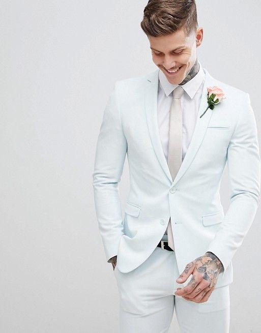 ASOS DESIGN wedding super skinny suit in pastel blue | ASOS