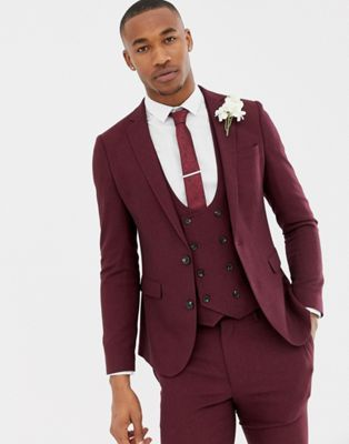 ASOS DESIGN wedding super skinny suit jacket in burgundy micro texture