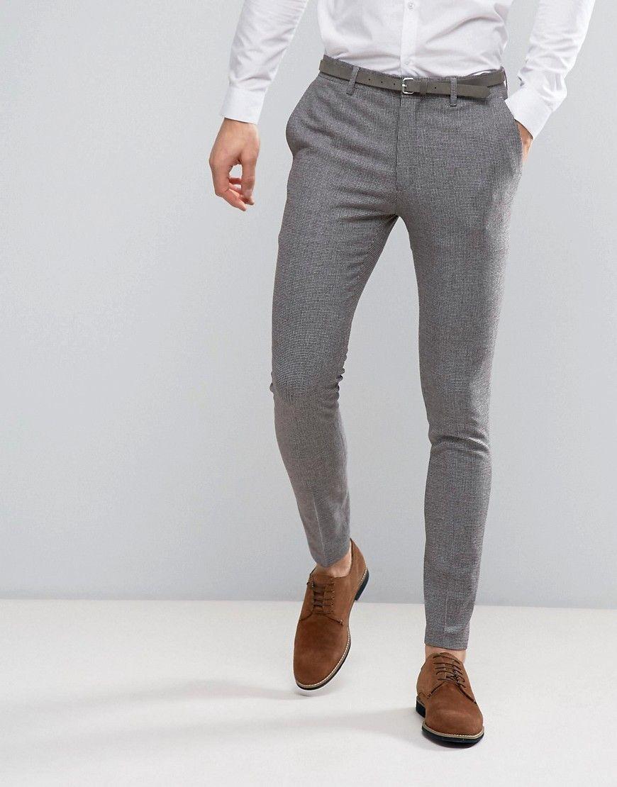ASOS Wedding Super Skinny Suit Pants in Mini Check In Gray – Gray