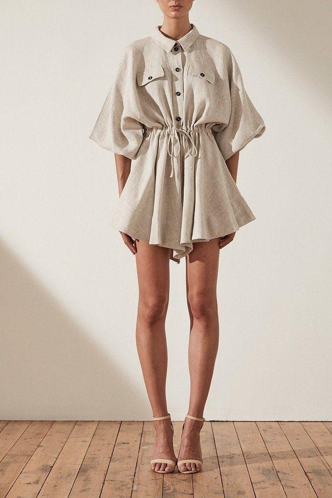 ATTICUS LINEN BALLOON SLEEVE SHIRT MINI DRESS