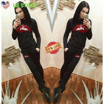 (Ad)eBay – Womens Long Sleeve Sequin Lips Print Sweatshirt Pants Set Lounge Wear…
