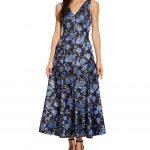 Adrianna Papell V-Neck Metallic Floral Print Tea Length A-Line Dress - Blue Multi 2