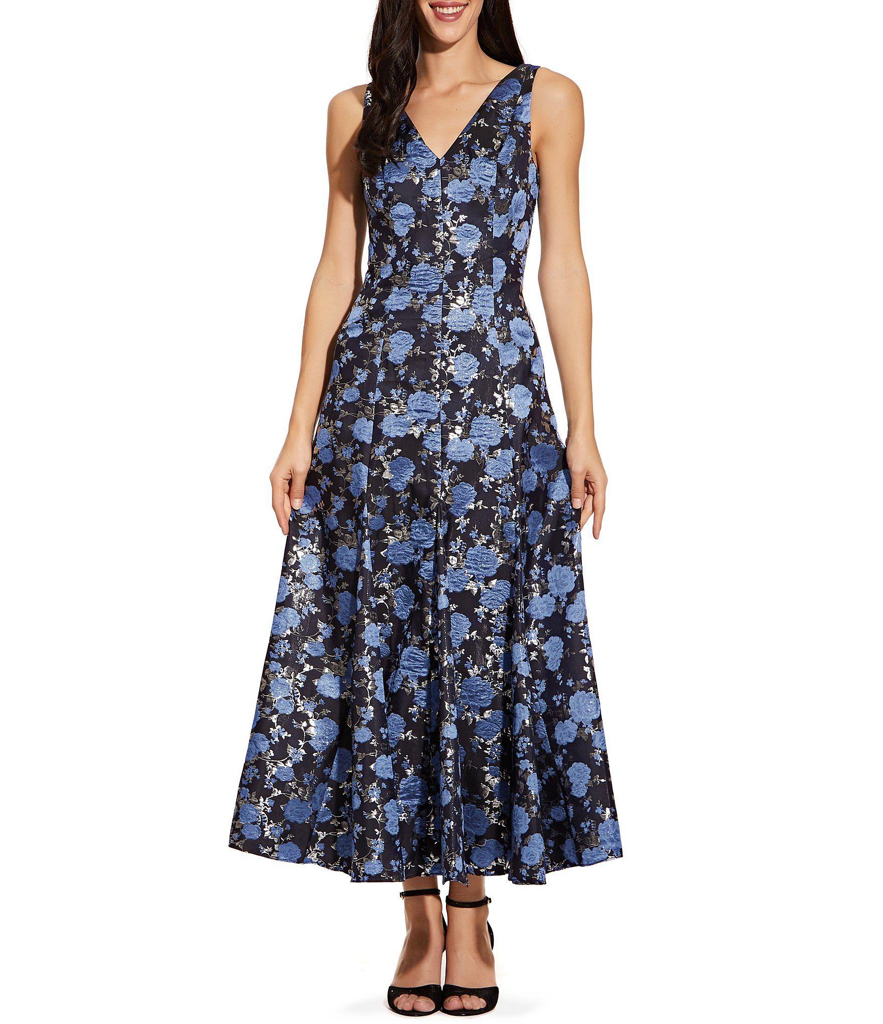 Adrianna Papell V-Neck Metallic Floral Print Tea Length A-Line Dress – Blue Multi 2