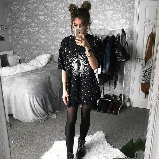 Aesthetic loose vintage dresses black slim short sleeve print plus size dress casual gothic summer dress
