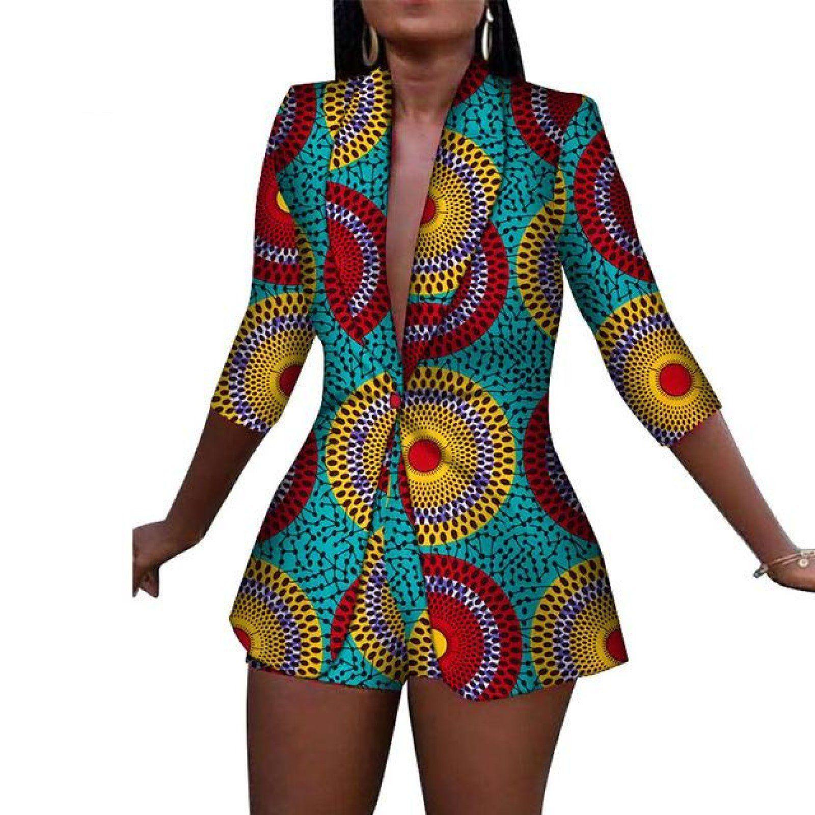 African Women Ankara Print blazers with Shorts set X10566