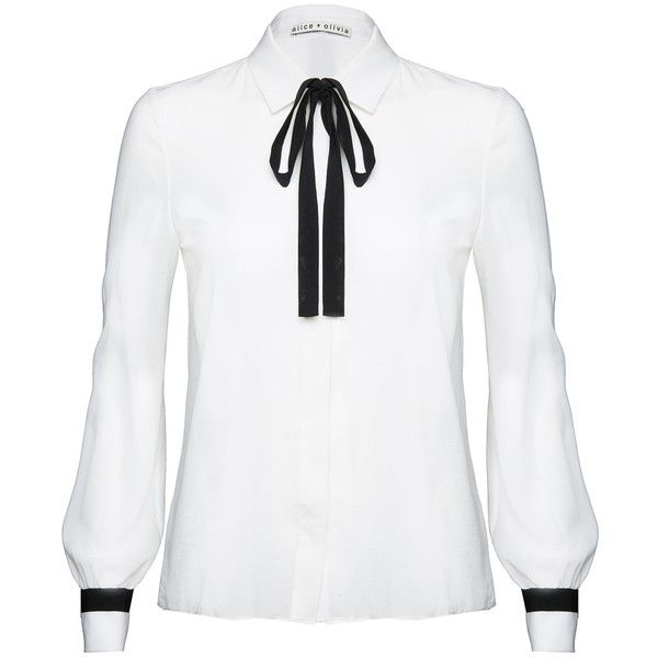 Alice + Olivia Tonya Tie Neck Buttondown ($275) ❤ liked on Polyvore featuring …