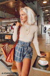 Alma Mater Teal Blue Plaid Paper Bag Waist Shorts   – Outfit ideas – #Alma #Bag …