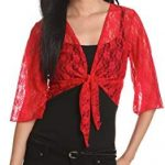 Amazing offer on Star Vixen Women's 3/4 Sleeve Lace Tiefront Shrug Sweater online