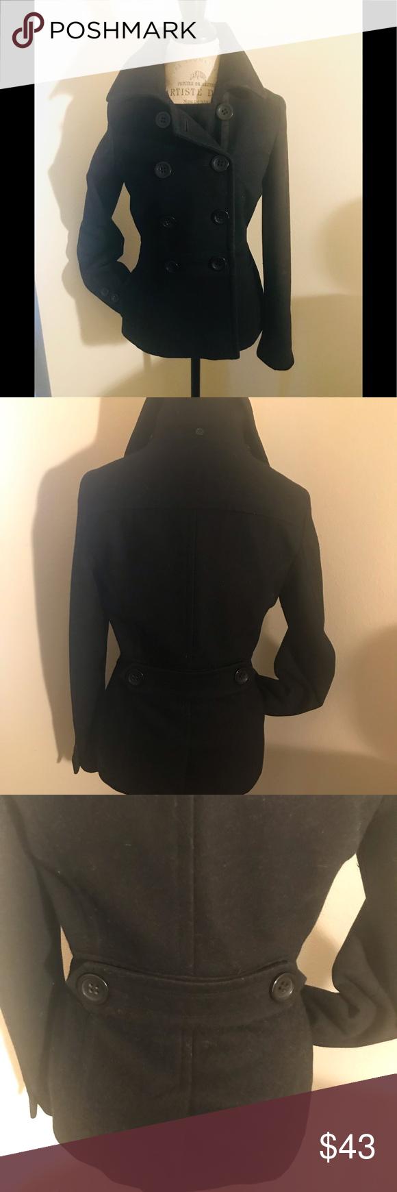 American Rag Cie Black Wool Pea Coat American Rag Cie Black Pea Coat. Size Small…