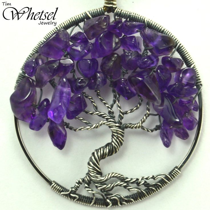 Amethyst Tree of Life Necklace – Sterling Silver Wire Wrapped Pendant – February Birthstone Necklace – Handmade Jewelry by Tim Whetsel from Wire Wrapped Jewelry by TDW