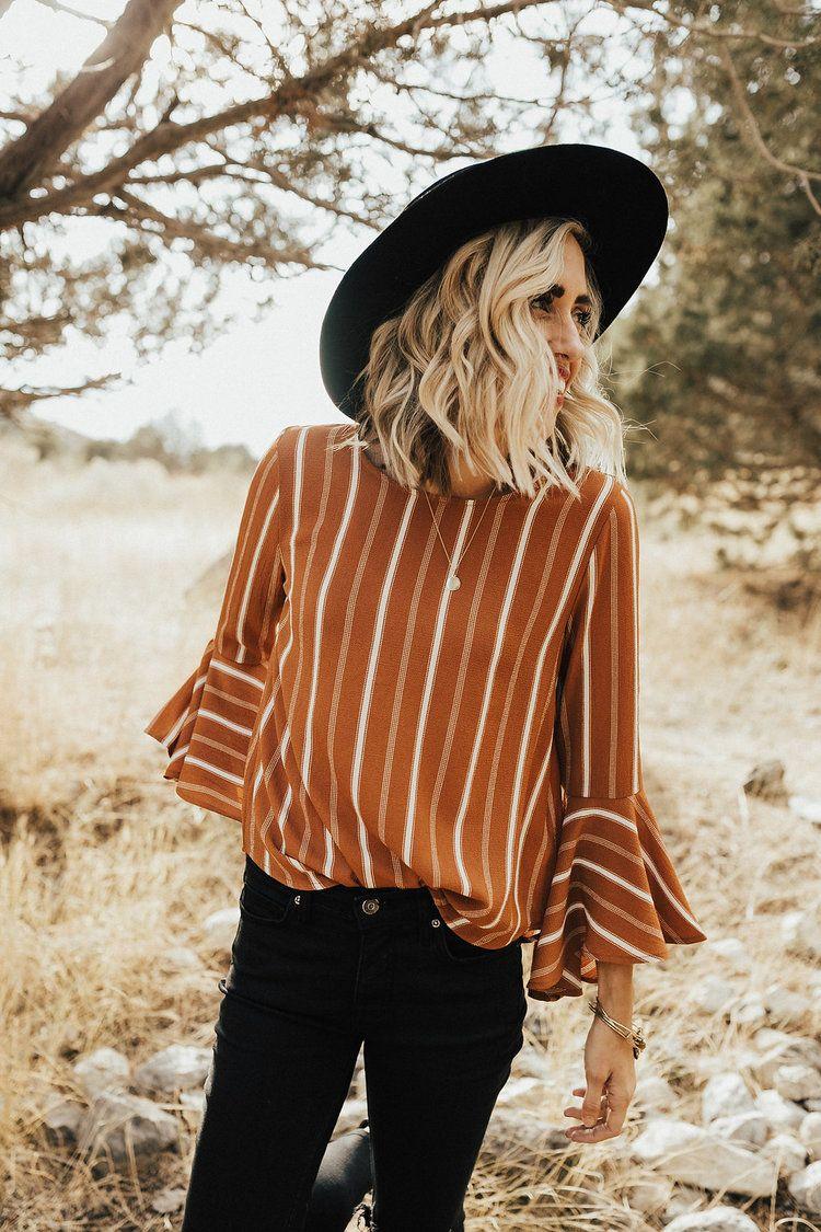 Ana Stripe Blouse | ROOLEE