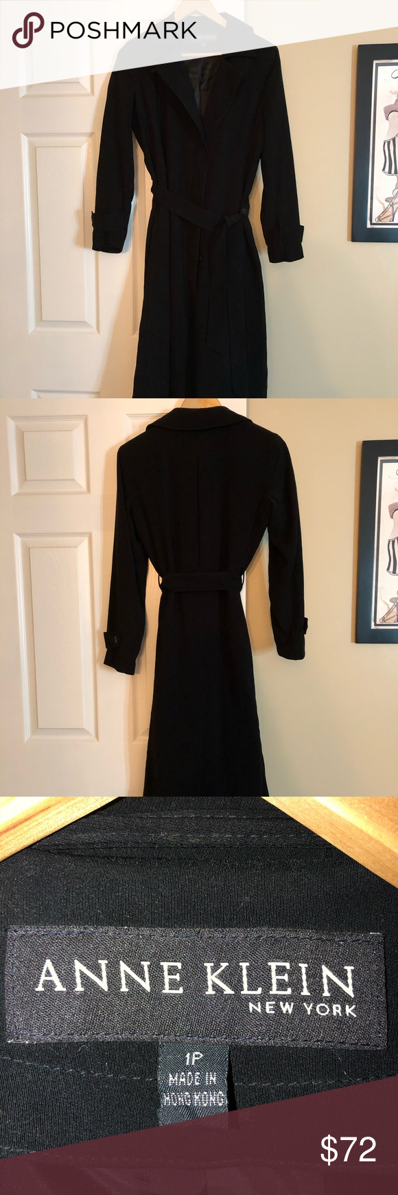 Anne Klein Long Belted Trench Coat – Size 1P Sexy and stylish Anne Klein long bl…