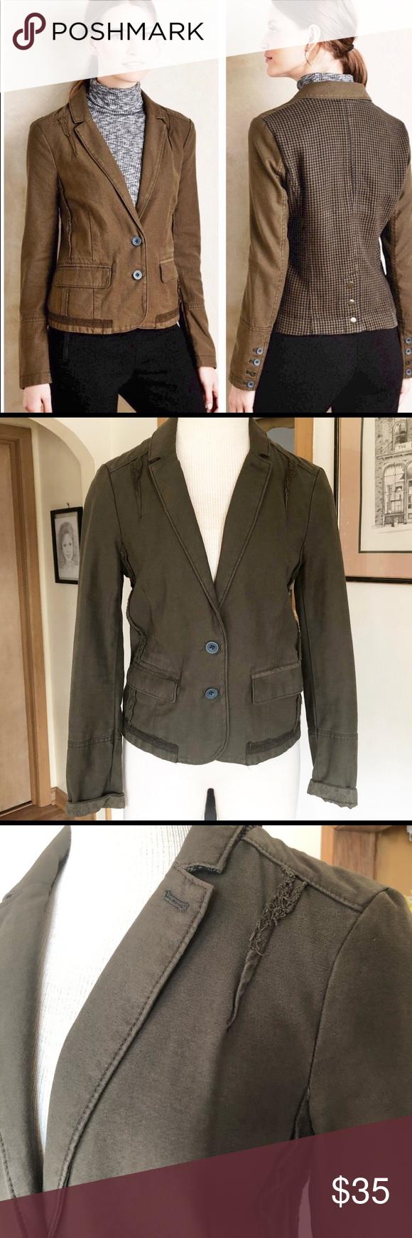 Anthropologie Hei Hei Delanie Blazer UK 8 Olive green/true khaki color and navy …