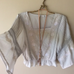 Anthropologie vintage pale blue needlepoint style peasant top | Bohemian Angel