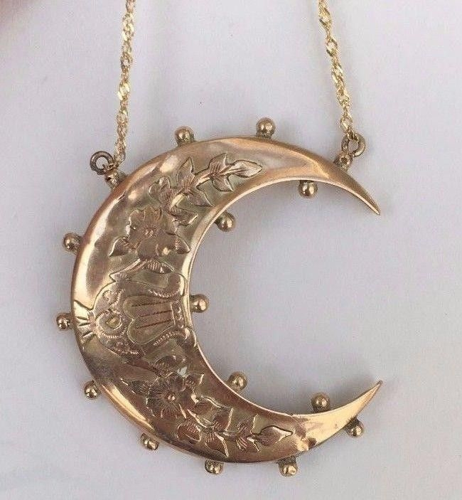 Antique Victorian Gold Crescent Moon Pendant/Necklace