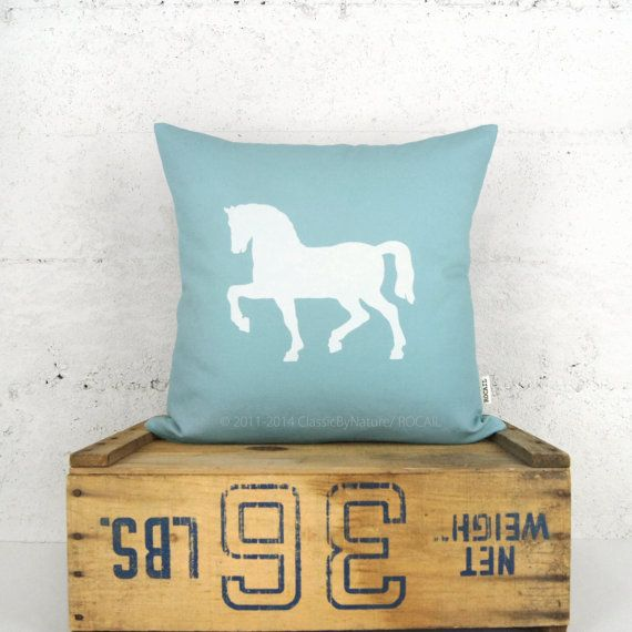 Aqua Blue and White Horse Pillow Cover – 16×16 or 12×18 inches – Cushion, Decorative Pillow Case – Shabby Chic, Cape Cod Home Decor