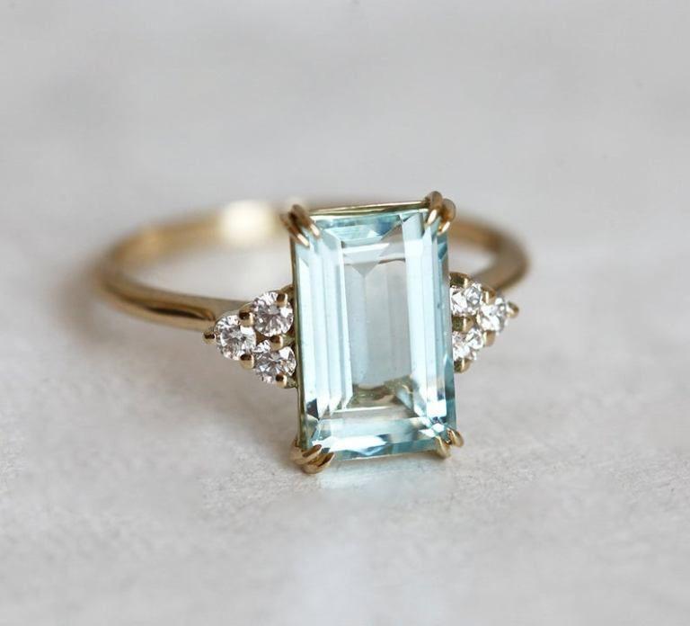 Aquamarine & Diamond Engagement Ring, Emerald Cut Aquamarine Ring, 14k Solid Gold