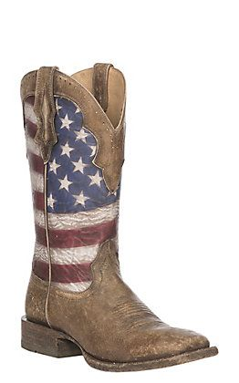 Ariat Men's Ranchero Stars And Stripes Flag Wide Square Toe Western Boot