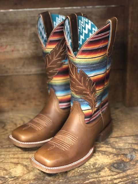 Ariat Women's Circuit Autumn Tan & Serape Feather Square Toe Boots 10025050