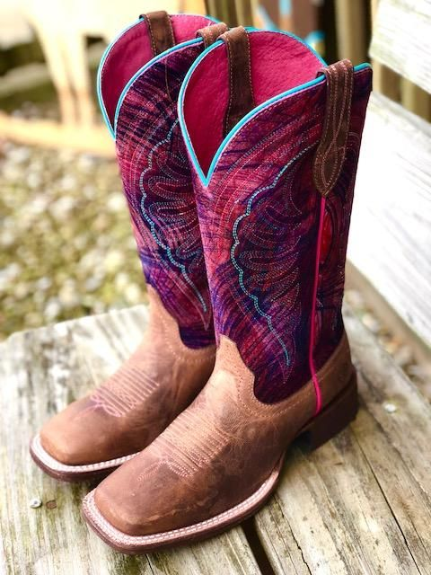 Ariat Women's Circuit Shiloh Paint Brush Pink & Brown Square Toe Boots 10025051