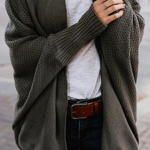 Army Green Oversize Casual Cardigan