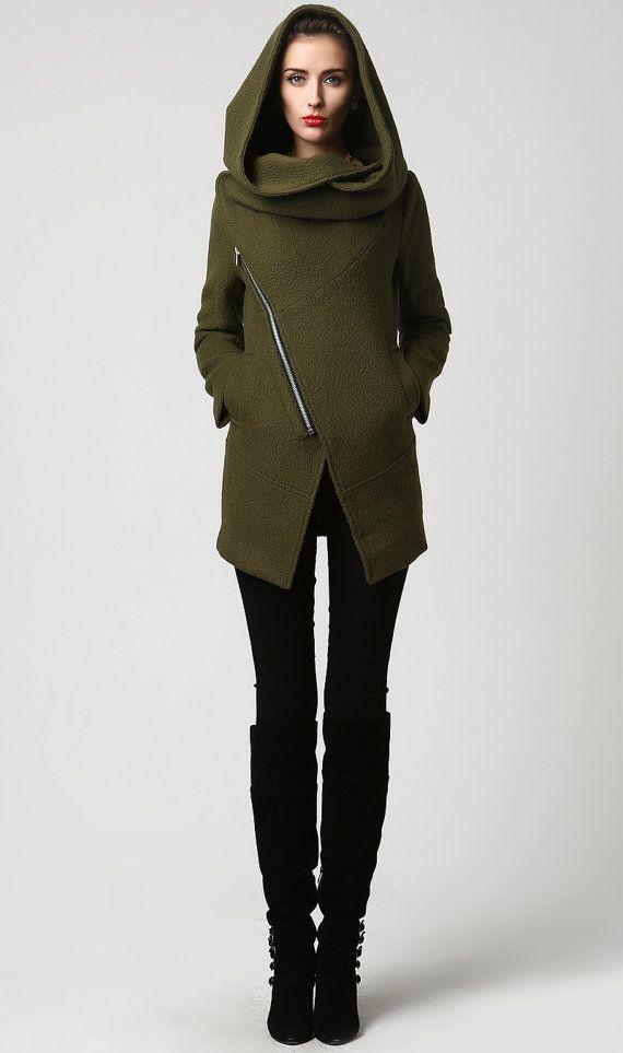 Army green coat, short coat, wool coat, Womens coat, short wool coat, hooded coat, Asymmetrical coat , wool coat, warm winter coat 1128#