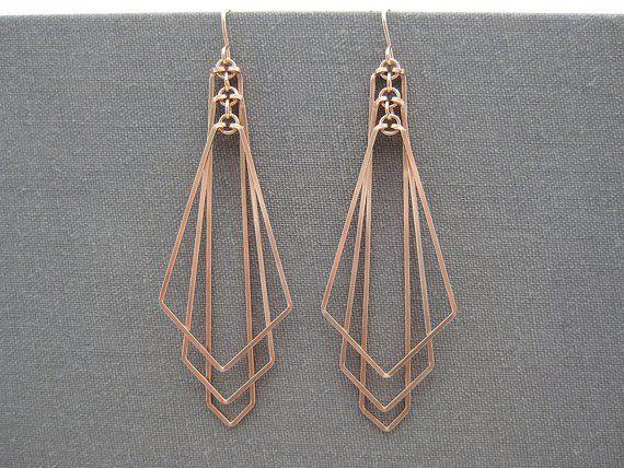 Art Deco Earrings, Rose Gold Filled, statement geometric earrings, best friend engagement gift – Tiered Arrow