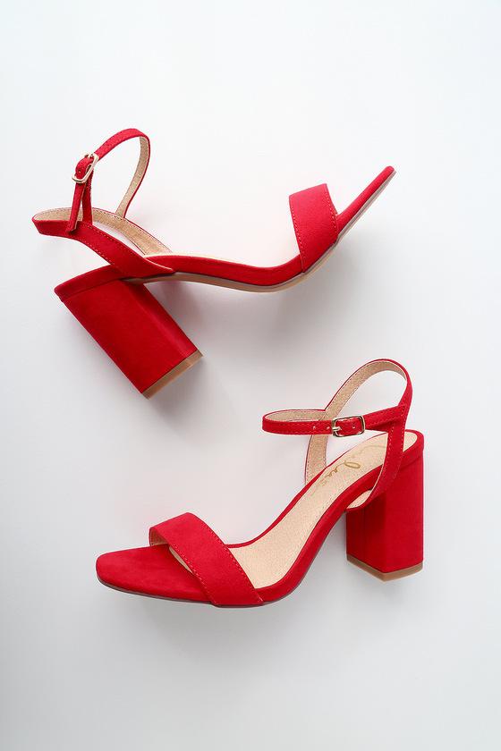 Arya Red Suede High Heel Sandals