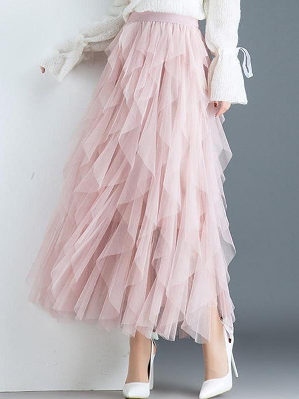 Asymmetrical Vertical Ruffles Long Skirts