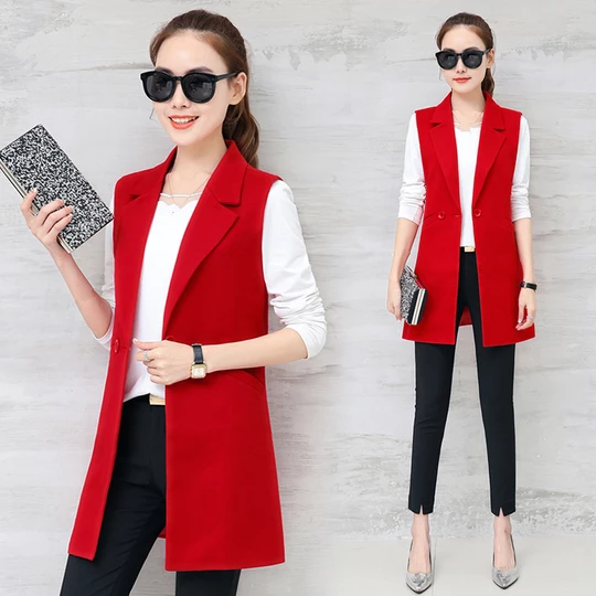 Autumn Sleeveless Blazer Vest 2018 Office Lady Long Vest Women Black Red Pocket Outwear Jacket