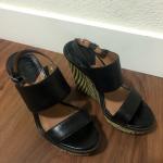 BOGO🌻 Lucky Brand - Platform Heels Black platform heels with cool zig zag det...