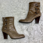 BOGO Born Leather Block Heel Buckle Boot Size 9 Born Leather Block Heel Buckle B...