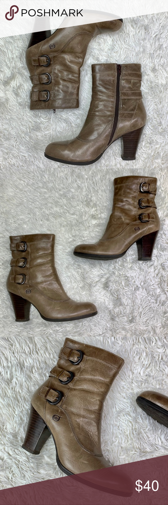 BOGO Born Leather Block Heel Buckle Boot Size 9 Born Leather Block Heel Buckle B…