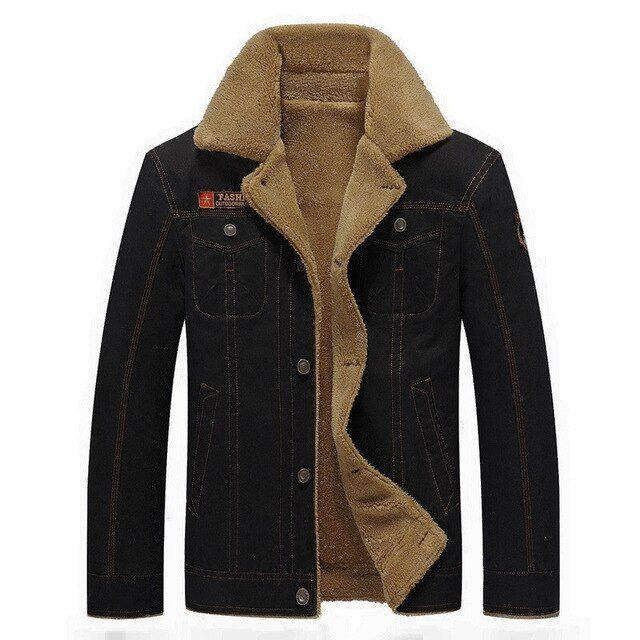 BOLUBAO Winter Jacket Men Parka Jacket Men Winter Thick Warm Cotton Button Coat Mens Parkas Size M Color Black